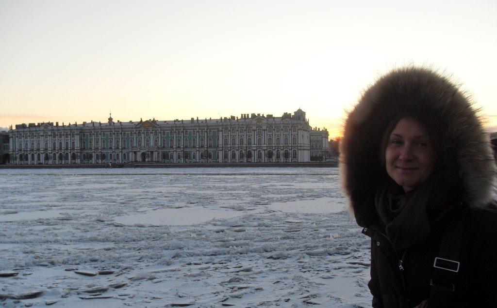 L'Hermitage sulla Neva ghiacciata
