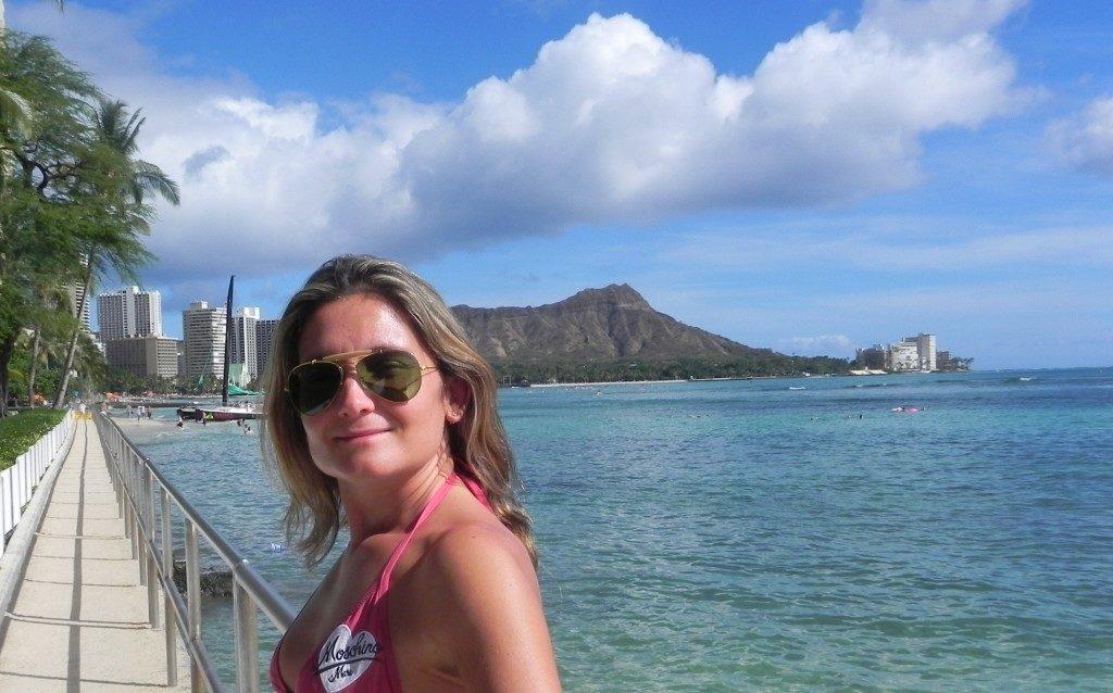 Waikiki' beach,sullo sfondo il Diamond Head