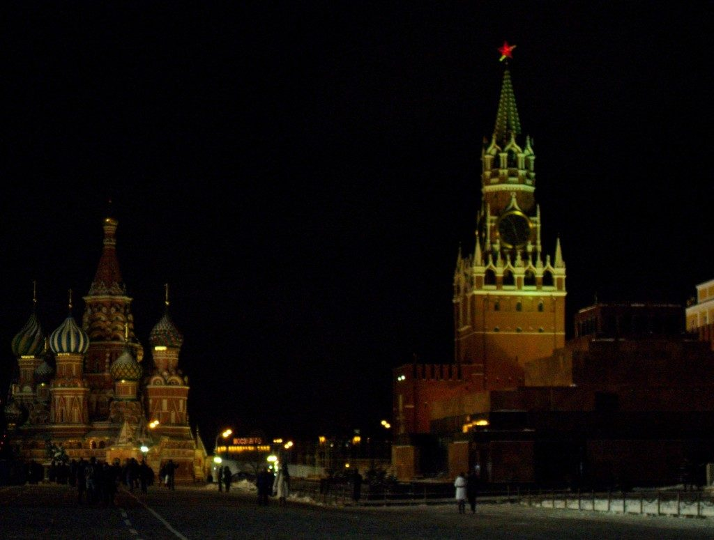 Una freddissima Piazza Rossa, di notte...