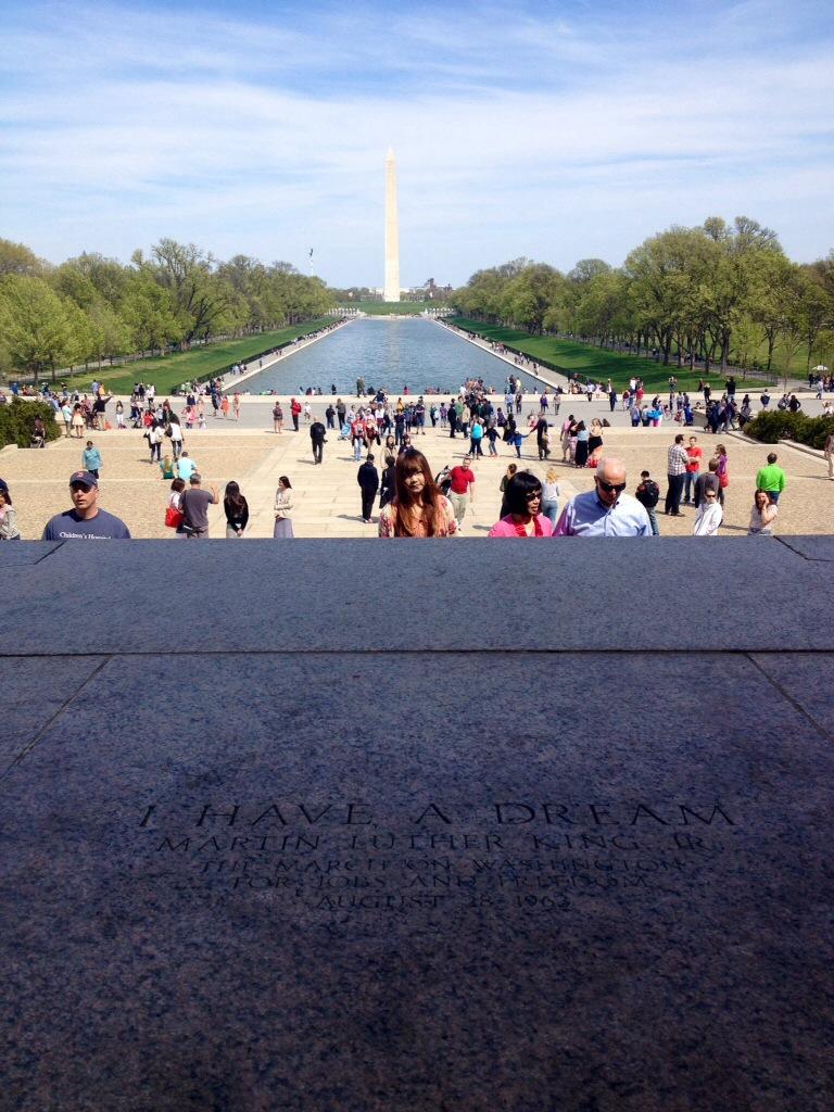 Washington, il National Mall visto dal Lincoln Memorial nel luogo in cui M. L. King pronuncio' il suo famoso discorso...