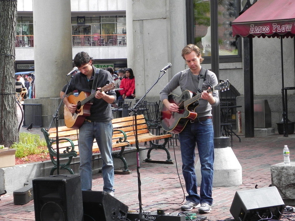 Artists outside the Quincy Market