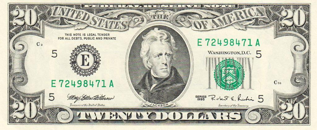 Andrew Jackson sulla banconota da 20$
