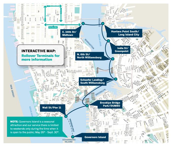 Il tragitto dell'east River Ferry