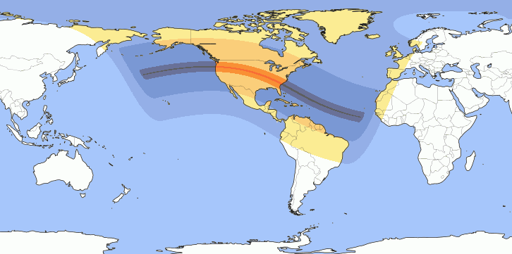 Total solar eclipse August 21 2017, the map with the total umbra [Credits meteoweb.eu]