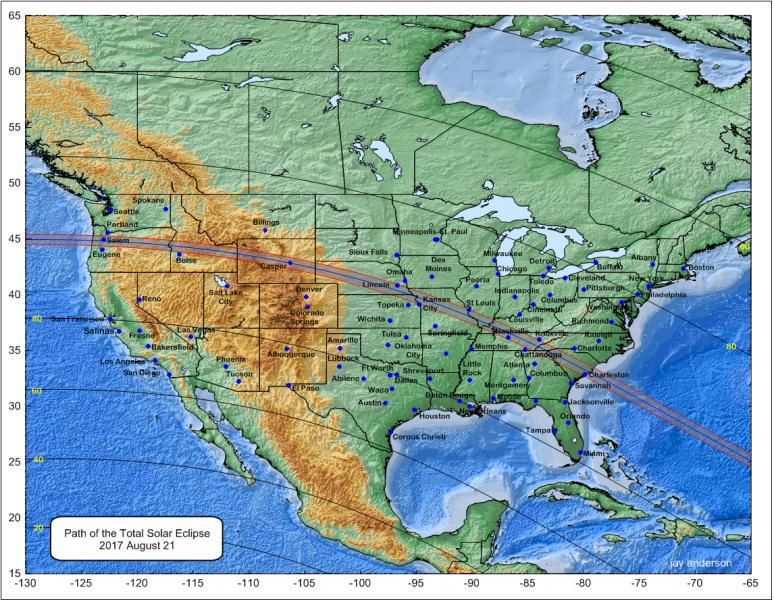 Total Solar Eclipse August 21 2017 in the USA, map [Credits divulgazione.uai.it]