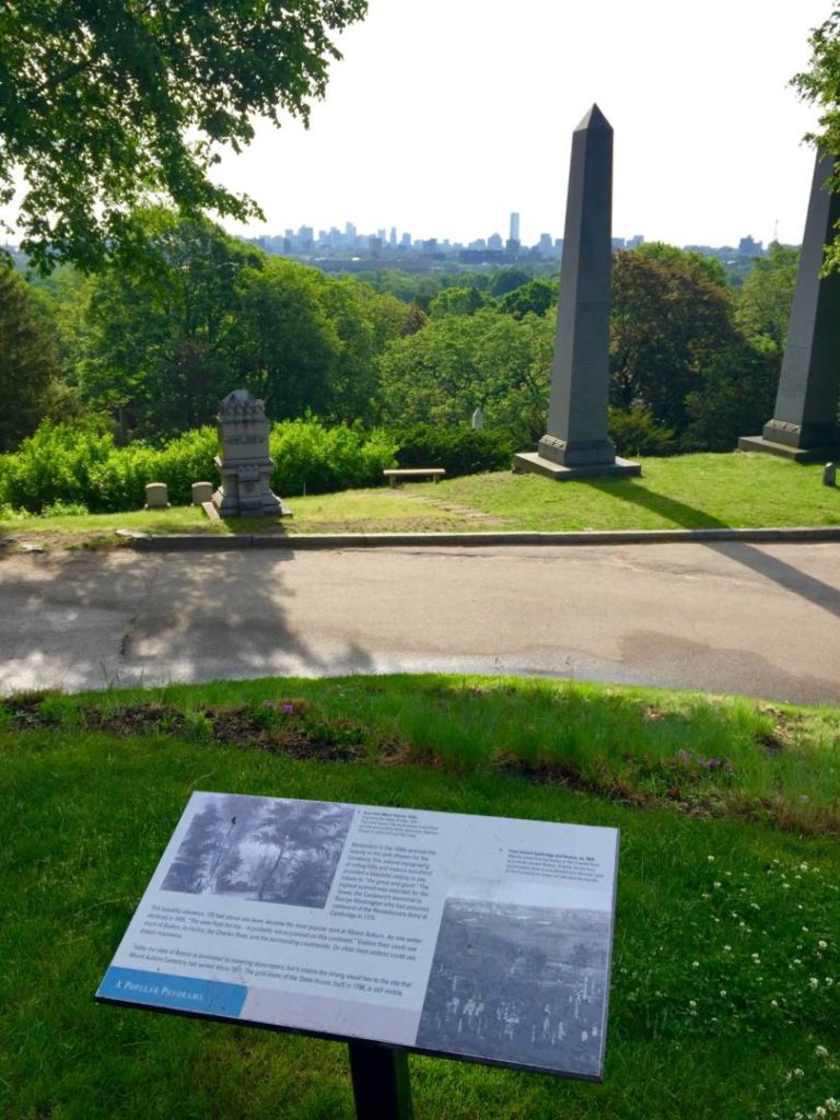 Mount Auburn Cemetery, view of Boston