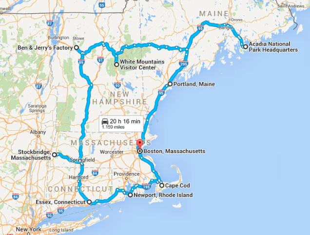 New England on the road, the itinerary