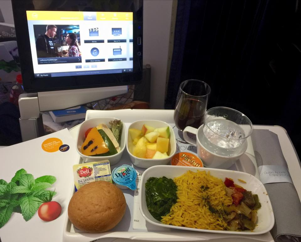 Lunch and entertainment in Premium Economy