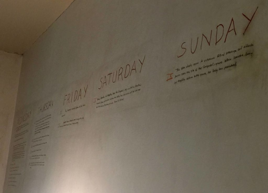"""Discovering Oxford: Rowan Oak, autograph passages of """"A Fable"""" on the wall of the studio"""
