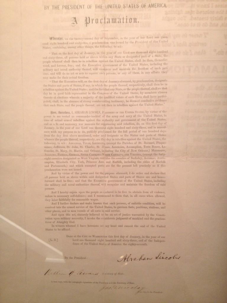 Il Proclama di abolizione della schiavitù firmato da Lincoln