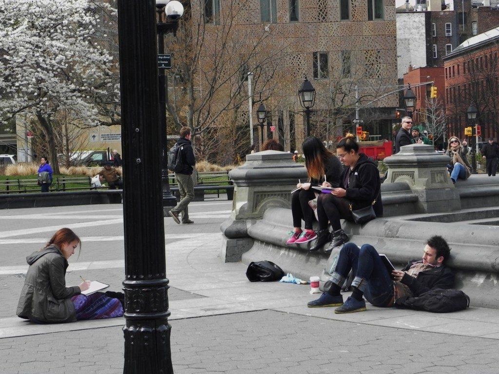 Studenti in Washington Square Park