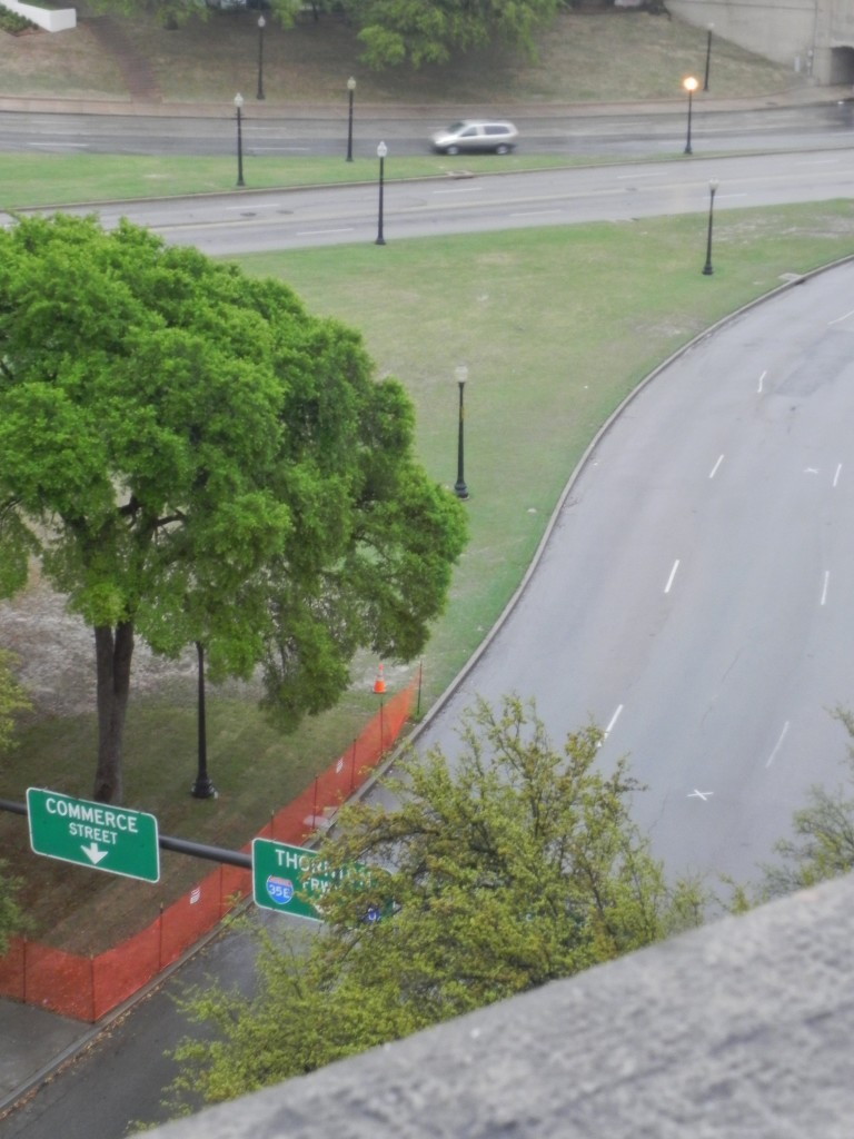 View from the window where Oswald shot the President kennedy