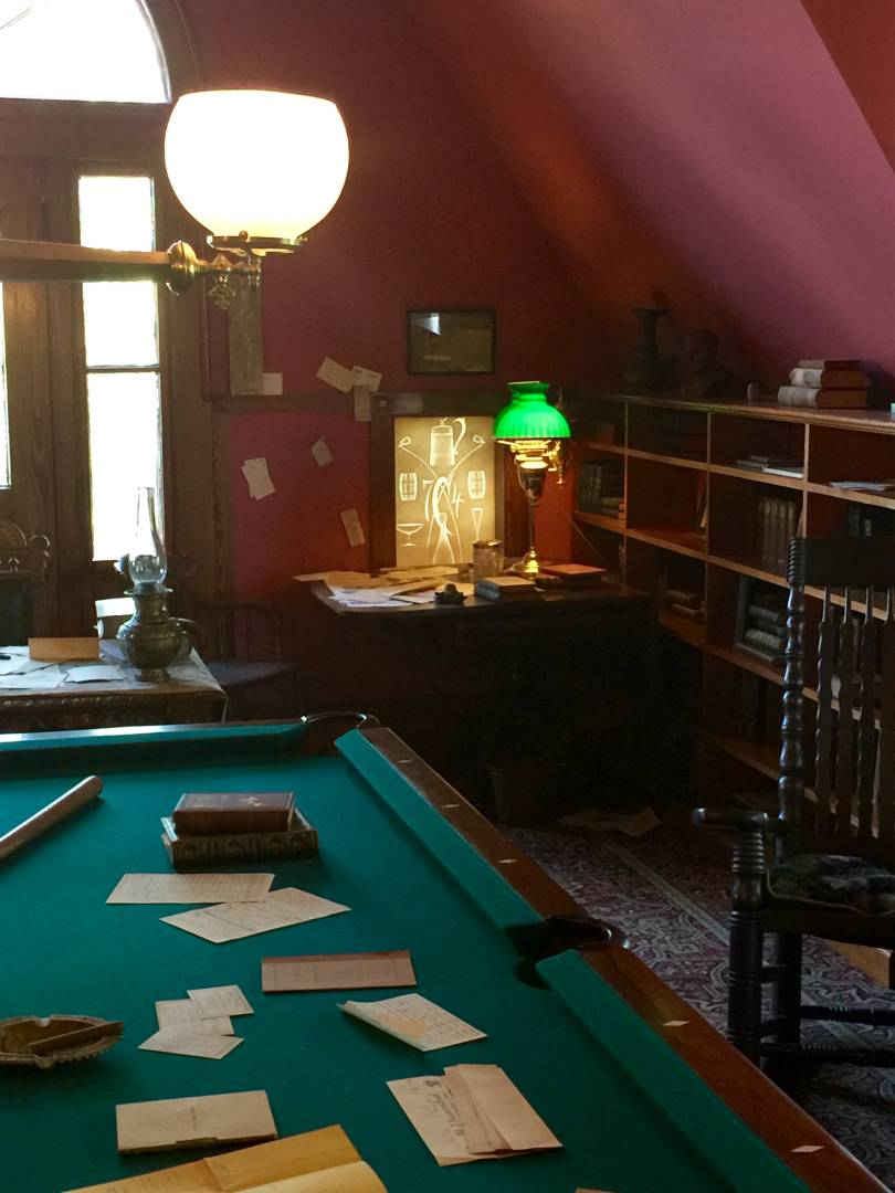 The billiard room and at the back, Mark Twain's desk
