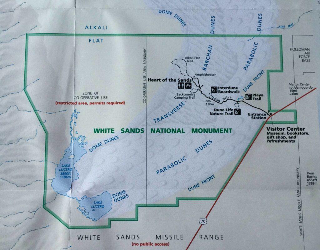 White Sands, mappa dei percorsi