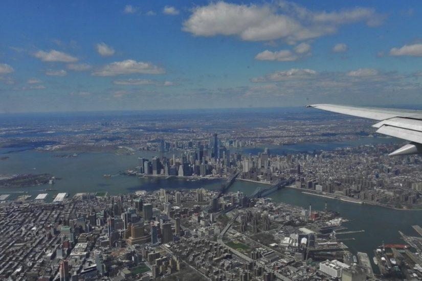 Ingresso negli Stati Uniti, atterrando a New York