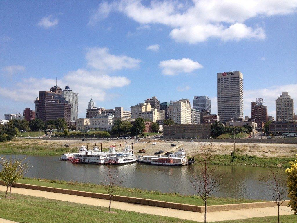 Memphis vista da Mud Island, sul Mississippi