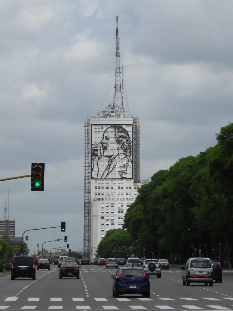 Buenos Aires, gigantografia di Evita Peron sull'Avenida 9 de Julio