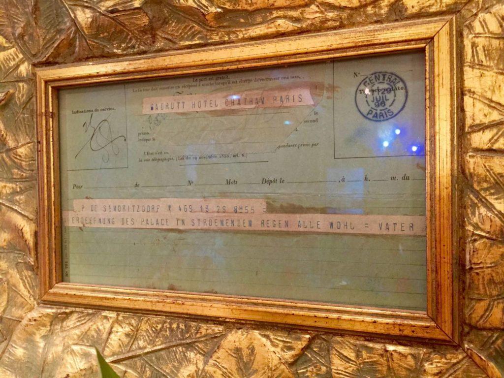 Badrutt's Palace Hotel, il telegramma di Caspar Badrutt che annuncia l'apertura dell'hotel