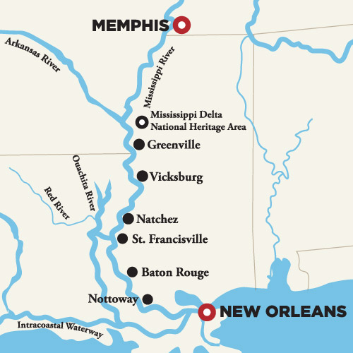 Crociera nel Lower Mississippi, itinerario
