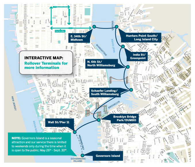 The route of the East River Ferry