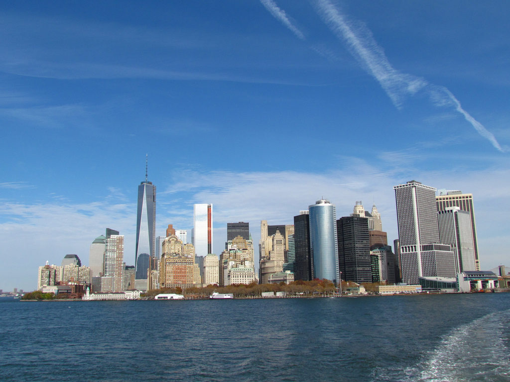 Lower Manhattan vista dallo Staten Island Ferry
