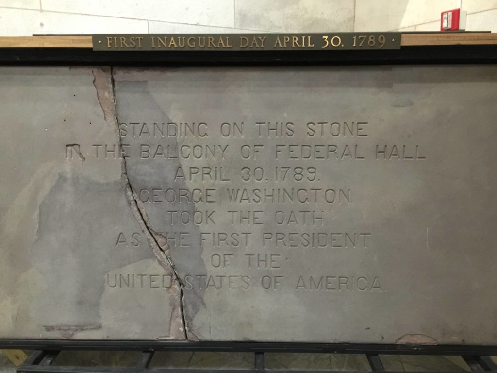 Unusual New York: Federal Hall National monument. The stone which Washington took the oath on as the first president of the United States
