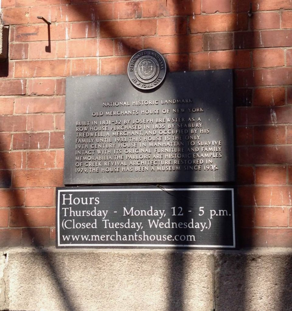 Secret New York: the plate about the Merchant's House history