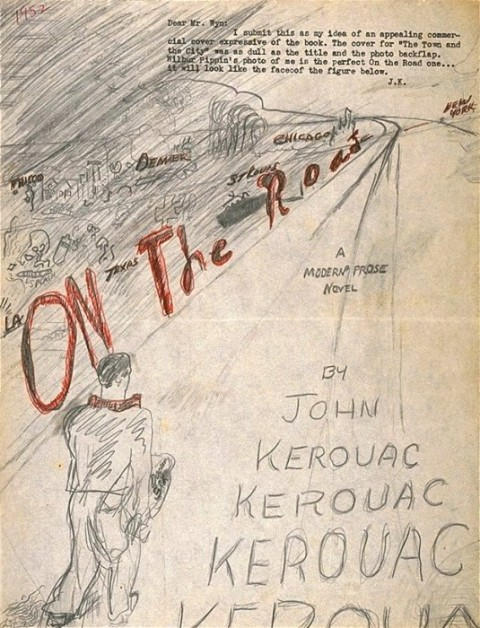 On the road, the original cover drawn by Kerouac
