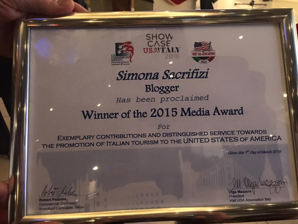 "Showcase USA Italy 2016, il ""mio"" Media Award 2015"