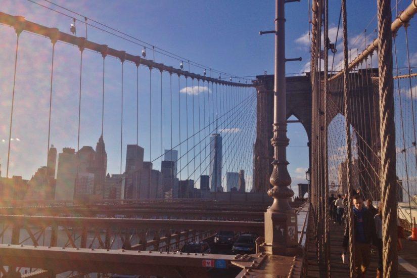 Uno degli ultimi tramonti vissuti sul Brooklyn Bridge