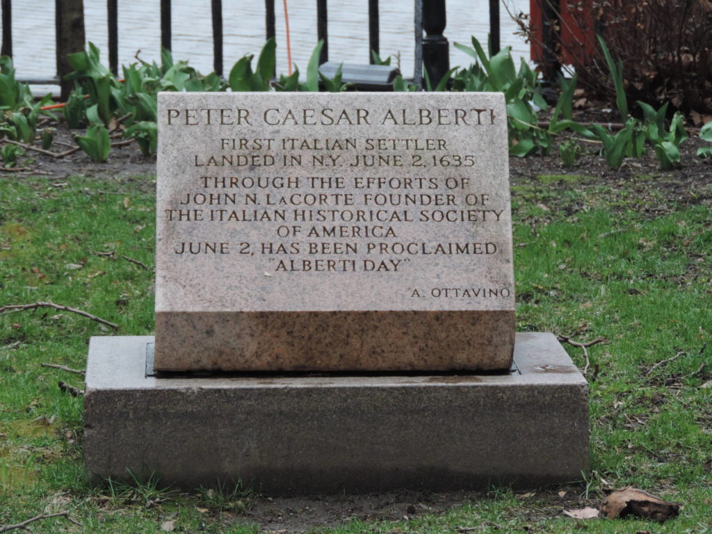 Bowling Green Park, the tombstone commemorating the landing of Pietro Cesare Alberti