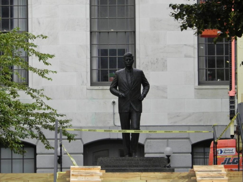 JFK's bronze statue at the Massachusetts State House