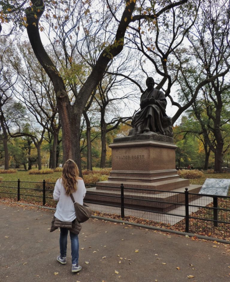 Walking along the Literary Walk, Central Park, New York