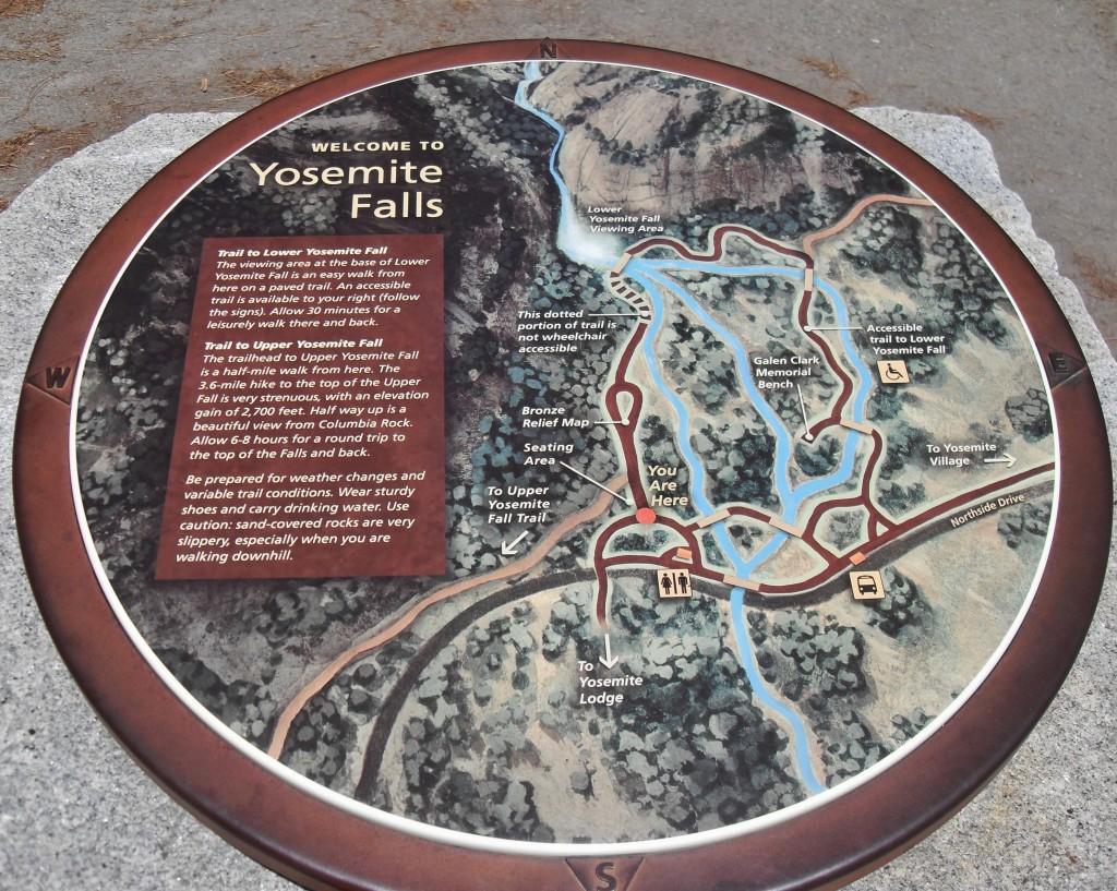 Yosemite Falls, mappa illustrata lungo il sentiero