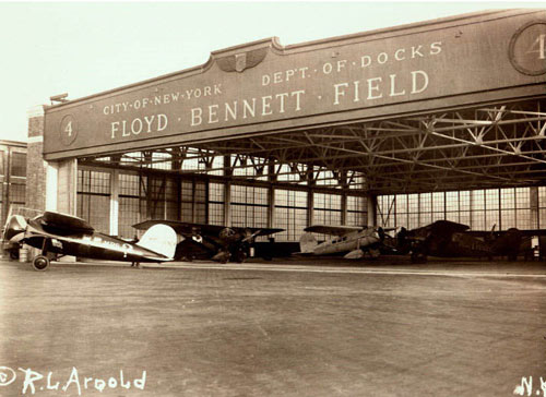 Unusual New York: an hangar of the Floyd Bennett Field in a vintage picture