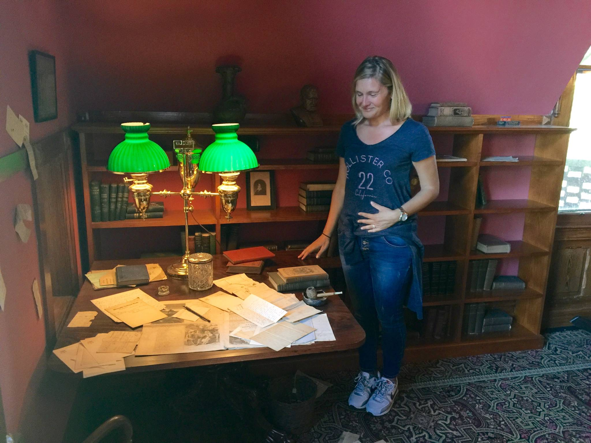 In front of Mark Twain's desk