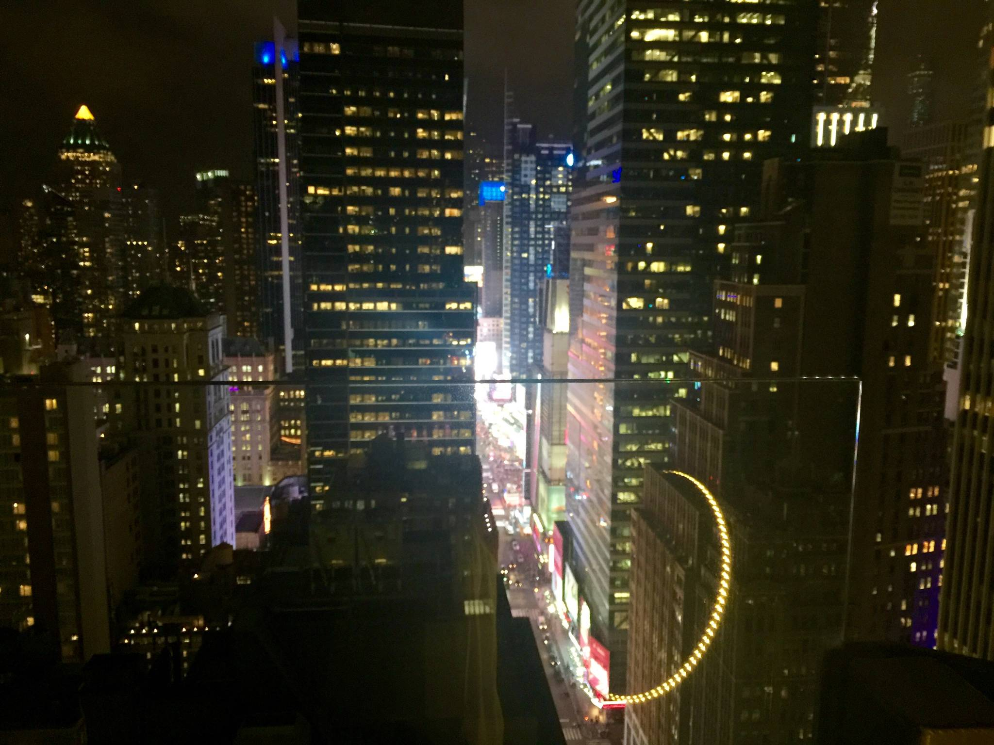 Times Square's lights from the Skylark
