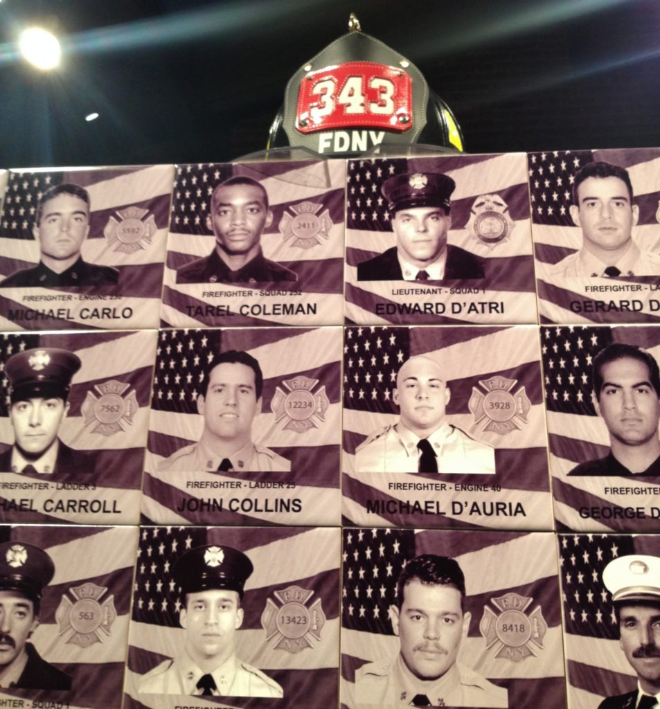 The names and the photos of the Heroes of 9/11, details